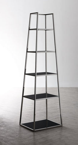 Stainless Steel Silver & Black Glass Pyramid Shelving Unit - KM003