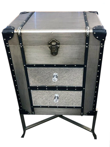 Silver & Mirror Steam Punk 2 Drawer Open Top Unit - MJ001