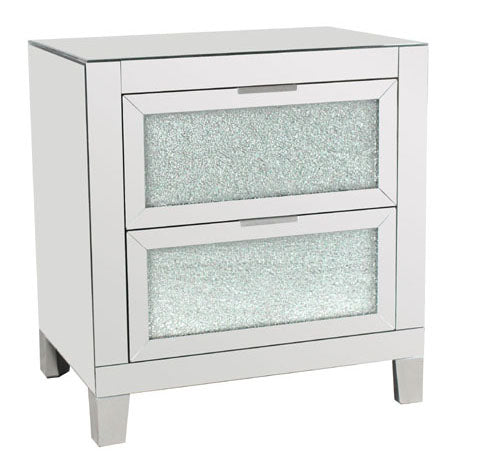 Mirrored Crackle 2 Drawer Chest of Drawers - MW004