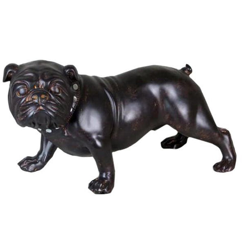 Brown Wood Effect Standing Bulldog Ornament - NY045