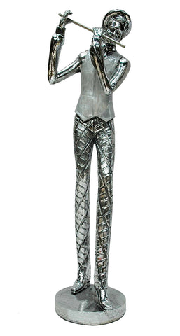 Silver Electroplated Man Playing Flute Ornament - NY046
