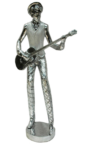 Silver Electroplated Guitar Musician Ornament - NY048