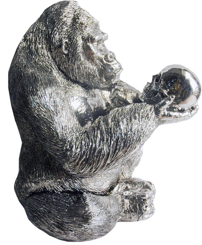 Silver Electroplated Gorilla with Skull Ornament - NY053