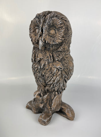 Carved Wood Effect Tawny Owl Garden Ornament - FC057