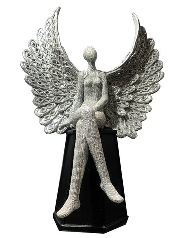 Silver Studded Mosaic Wing Sitting Angel Ornament - NY065