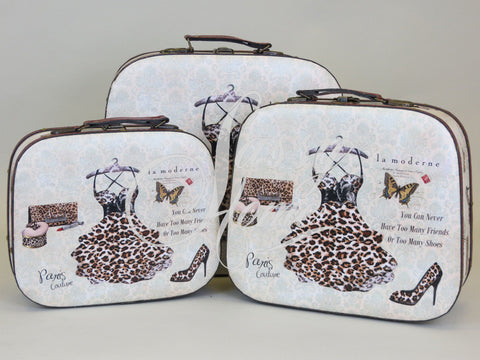 Paris Dress Set of 3 Trunk Case Storage Boxes