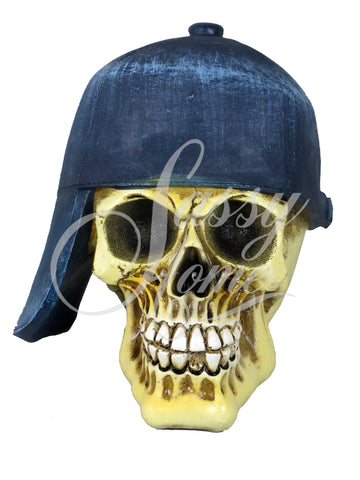 Blue Baseball Cap Skull Ornament - QM026
