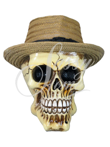 Straw Hat Skull Ornament - QM027