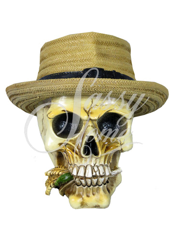Straw Hat & Corn Skull Ornament - QM028