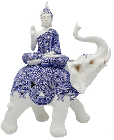 White & Blue Buddha on Elephant Ornament - QM036