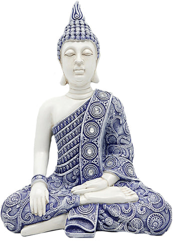 White & Blue Praying Buddha Ornament - QM039