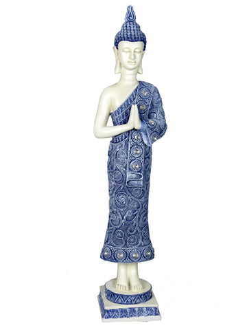 Small White & Blue Standing Buddha Ornament - QM040
