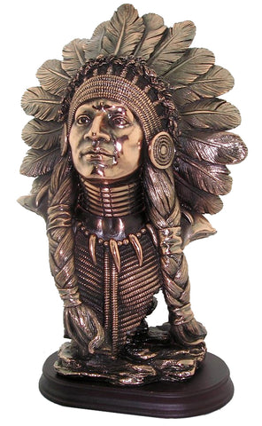Copper Effect Male American Indian Chief Bust Ornament - QM045