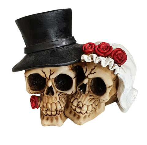 Death Do Us Part Married Small Couple Skull Ornament - QM052