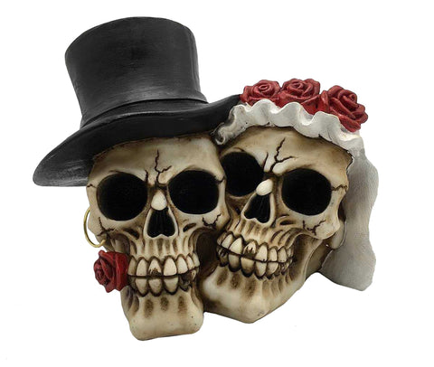 Death Do Us Part Married Large Couple Skull Ornament - QM050