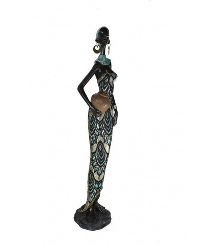 African Lady with Pot in Gold & Blue Dress Ornament - QS007