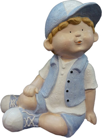 City Kidz Blue Boy Sitting Ornament - VA003