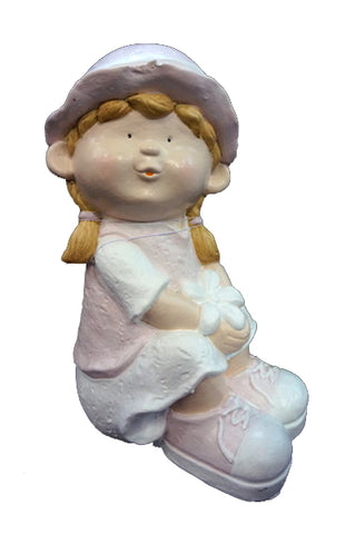 City Kidz Pink Girl Sitting Ornament - VA004