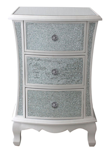 White Crackle 3 Drawer Chest of Drawers - WL15A035-B