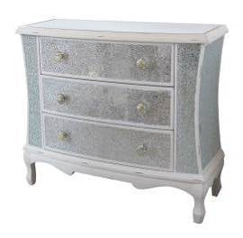 White Crackle 3 Drawer Wide Chest of Drawers - WL15A325
