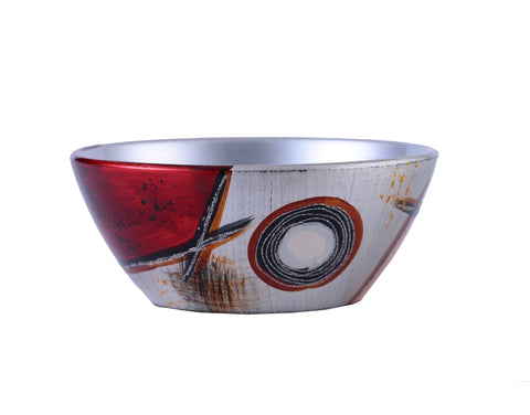 Colourama Silver & Red Floral Bowl - WLCFBS