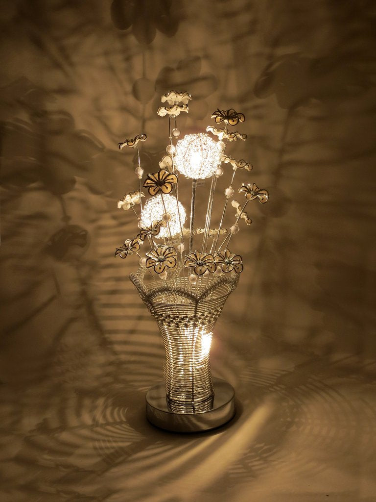 Small Silver Wire Lamp With White Flowers Wlt2283 3 Sassyhome