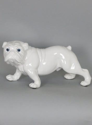 White Ceramic Blue Eyes Standing Bulldog Ornament - WLC006