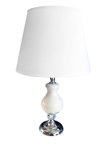 Colourama White Ceramic & Silver Metal Table Lamp - WLCL31W