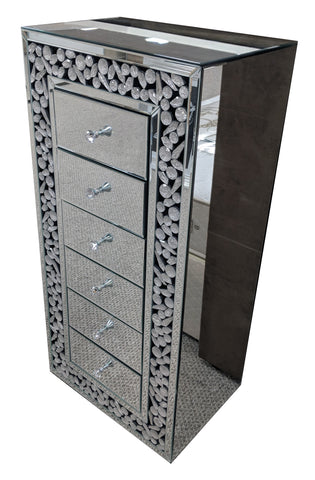 Moon Crystal Mirrored 5 Drawer Tall Chest of Drawers - AM007