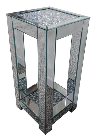 Crushed Diamante Glitz Mirrored Double Shelf Side Table - CD167