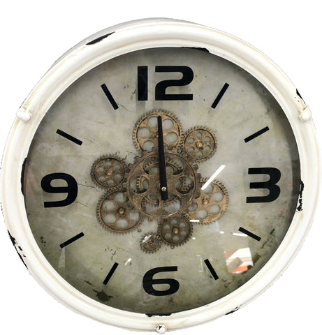 Vintage White Skeleton Wall Clock - 46cm - CA011