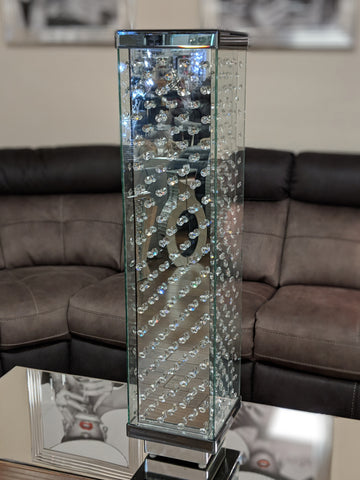 Tall Square Crystal Decor Mirrored Vase - CD018