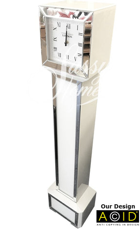 Square Mirrored & White Glass Long Case Grandmother Clock - CD147