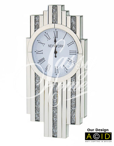 Glitz Diamond Shape Art Deco Mirrored Wall Clock - CD151