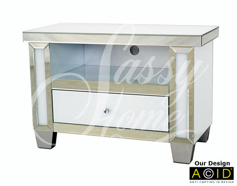 Mirrored & White Glass Small TV Unit - CD152