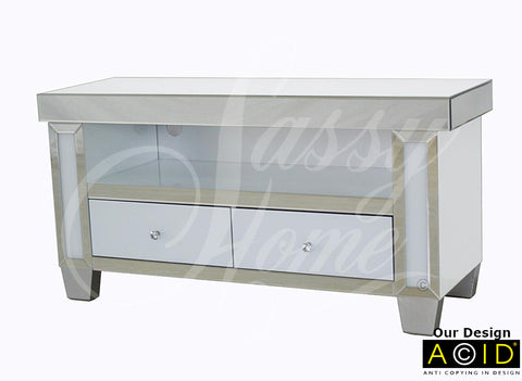 Mirrored & White Glass Large TV Unit - CD153