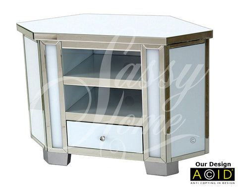 Mirrored & White Glass Tall Corner TV Unit - CD154