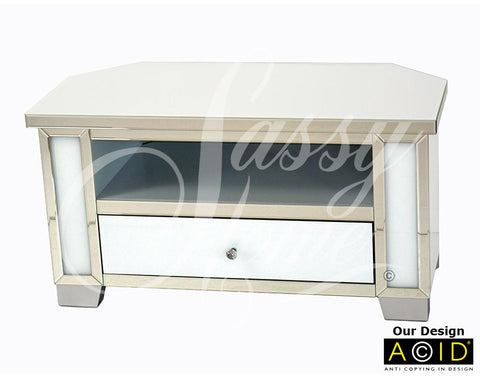 Mirrored & White Glass Low Corner TV Unit - CD155