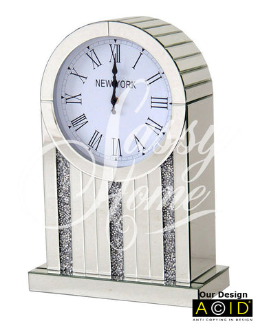 Round Face Mirrored Crushed Diamante Mantle Clock - CD156