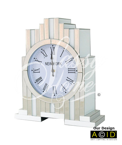 Large Art Deco Mirrored & White Glass Mantle Clock - CD157