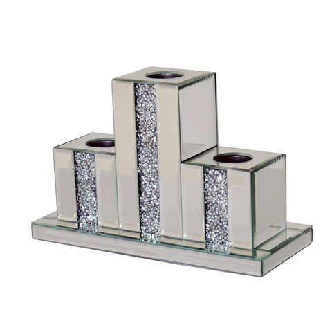 3 Tier Large Mirrored Crushed Diamante Tea Light Candle Holder - CD174