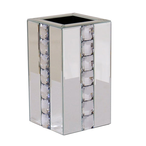 Mirrored Diamante Crystal Square Pillar Vase - CD177