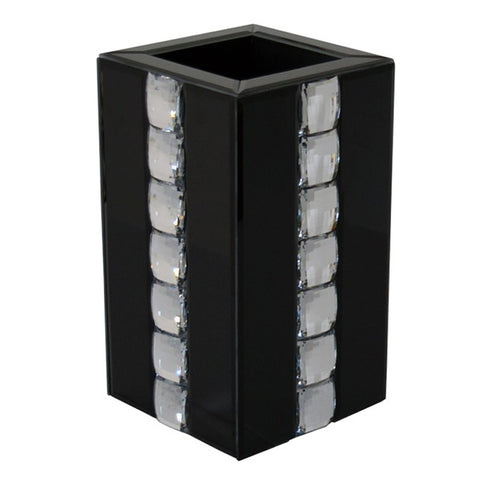 Black Glass & Crystal Square Pillar Vase - CD178