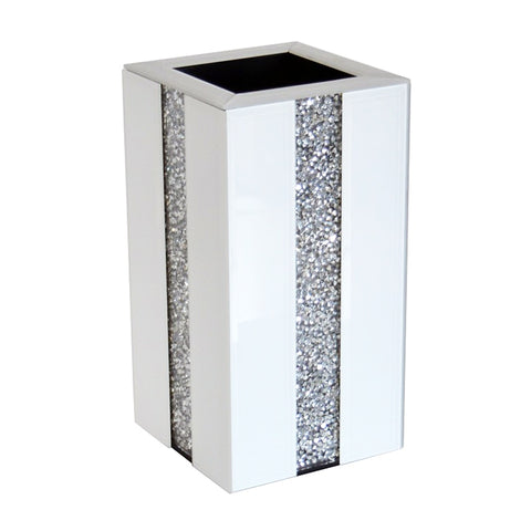 White Gloss Glass & Diamante Crystal Square Pillar Vase - CD182