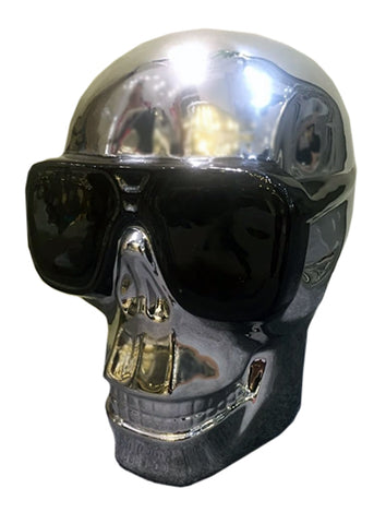 Silver Electroplated Large Skull with Sunglasses Ornament - CMC030