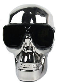 Silver Electroplated Medium Skull with Sunglasses Ornament - CMC031