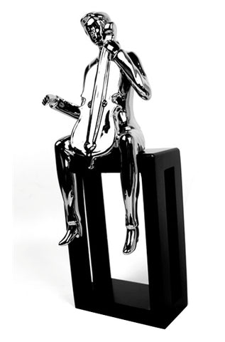 Silver Electroplated Man Playing Cello Ornament - CMC038
