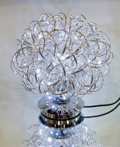 Silver Swirl Metal Wire LED Small Table Lamp - SHT4101