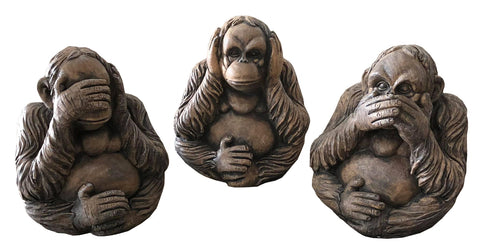 Orangutan Hear Speak Hear See No Evil Ornament - FC050