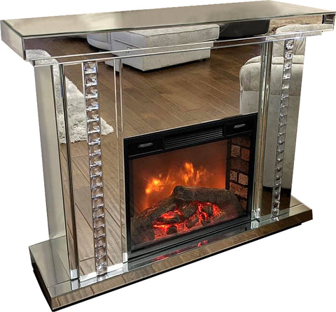 Mirrored Diamante Stripe Fireplace with Fire - CD160